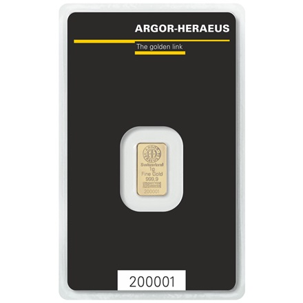 Gold bar 1g - Argor Heraeus