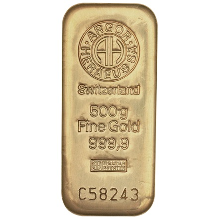 Gold bar 500g - Argor Heraeus