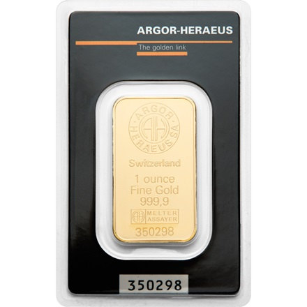 Gold bar 1oz Argor Hearaeus